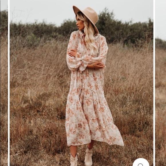 Vici Boho tiered midi dress